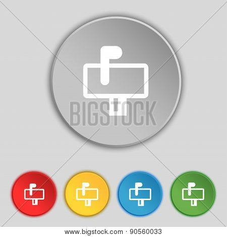 Mailbox Icon Sign. Symbol On Five Flat Buttons. Vector