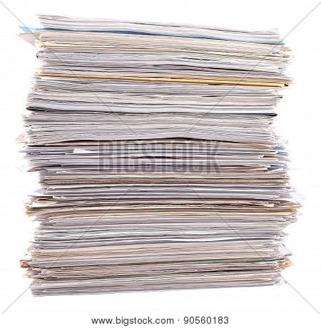 Stack Of Paper On A White