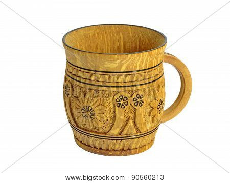 Wooden Carved Mug With Pattern