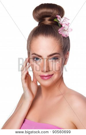 Beauty Woman With Concealer dots At Undeeye Area Isolated
