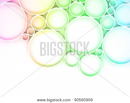 3D Colorful Rings Over White Backdrop