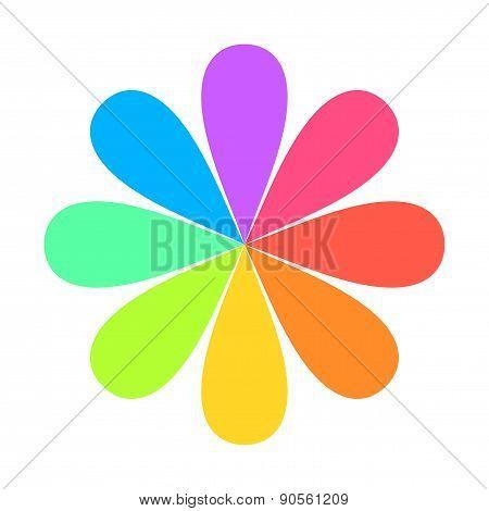 Abstract Geometric Rainbow Flower Logo. Vector