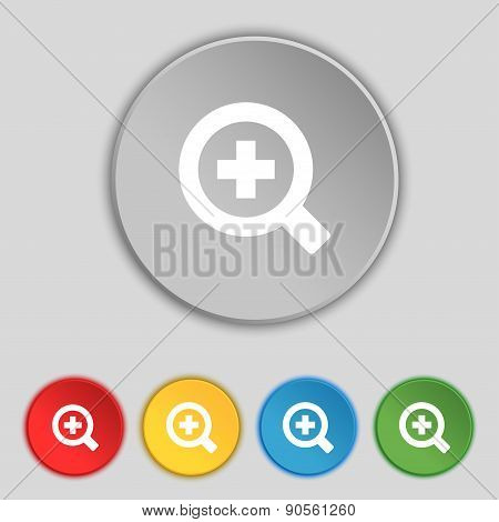Magnifier Glass, Zoom Tool Icon Sign. Symbol On Five Flat Buttons. Vector