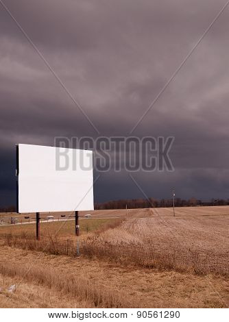 White Blank Billboard Advertising Sign Farm Field Thunder Storm