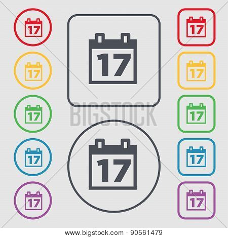 Calendar, Date Or Event Reminder Icon Sign. Symbol On The Round And Square Buttons With Frame. Vecto