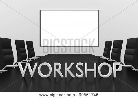 Workshop Logo Standing On Desk Conference Room Whiteboard