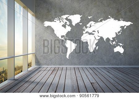 Apartment View On City Skyline Worldmap Painted On Wall