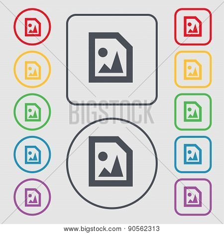 File Jpg Icon Sign. Symbol On The Round And Square Buttons With Frame. Vector