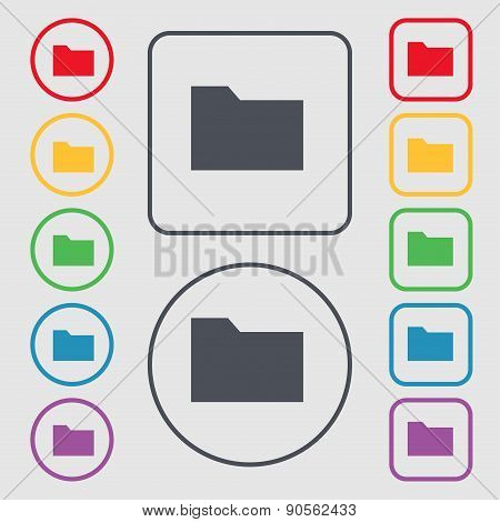 Document Folder Icon Sign. Symbol On The Round And Square Buttons With Frame. Vector