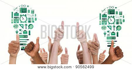 Hands showing thumbs up against business tools in light bulb shape