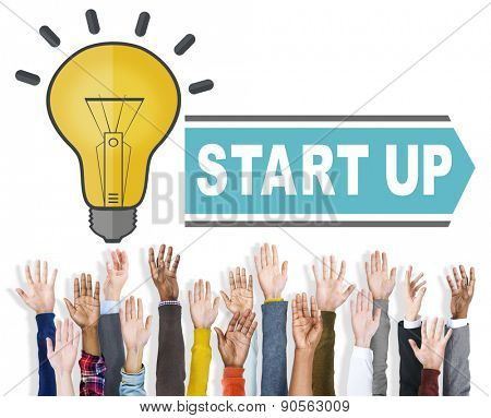 Diverse Hands Raised Start Up Business Concept