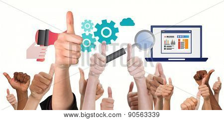 Hands showing thumbs up against business graphics