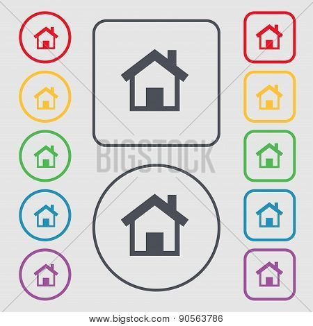 Home, Main Page Icon Sign. Symbol On The Round And Square Buttons With Frame. Vector
