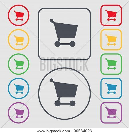 Shopping Basket Icon Sign. Symbol On The Round And Square Buttons With Frame. Vector