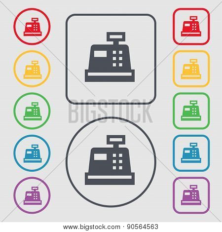 Cash Register Icon Sign. Symbol On The Round And Square Buttons With Frame. Vector
