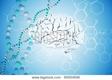 brain against dna helix in blue with chemical structures