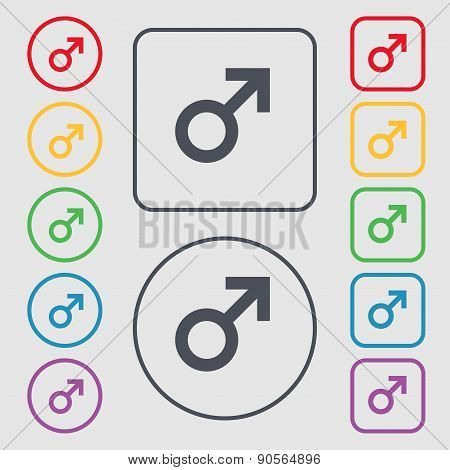 Male Sex Icon Sign. Symbol On The Round And Square Buttons With Frame. Vector