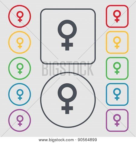 Symbols Gender, Female, Woman Sex Icon Sign. Symbol On The Round And Square Buttons With Frame. Vect