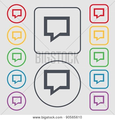 Speech Bubble, Think Cloud Icon Sign. Symbol On The Round And Square Buttons With Frame. Vector