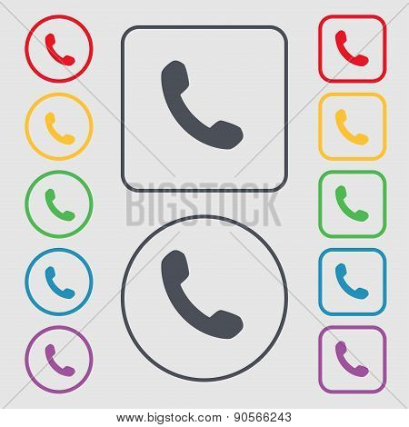 Phone, Support, Call Center Icon Sign. Symbol On The Round And Square Buttons With Frame. Vector