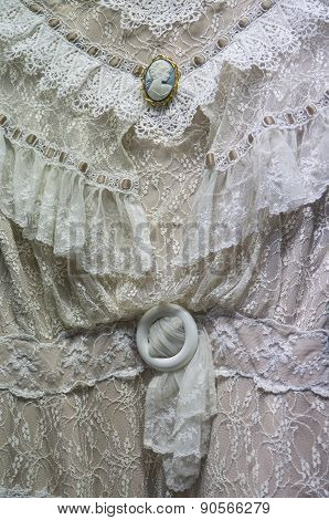 Antique White Victorian Dress Detail