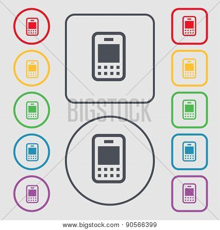 Mobile Telecommunications Technology Icon Sign. Symbol On The Round And Square Buttons With Frame. V
