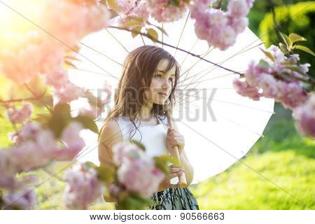 Cute Girl With Japanese Parasol