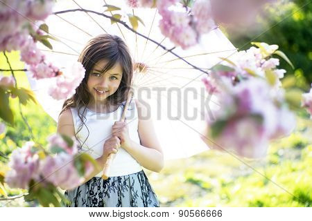 Cute Girl With Japanese Umbrella