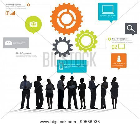 Team Teamwork Cog Functionality Technology Business Concept