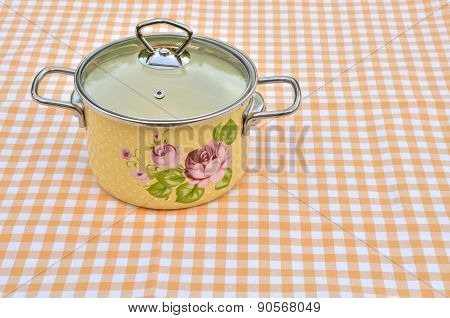Yellow Casserole With Floral Pattern