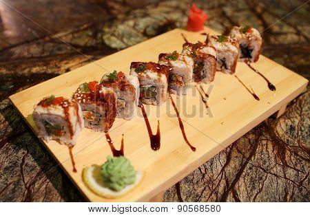 Delicious Dragon maki sushi rolls