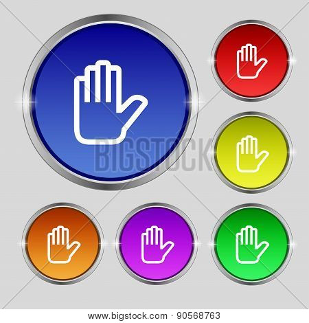 Hand Print, Stop Icon Sign. Round Symbol On Bright Colourful Buttons. Vector