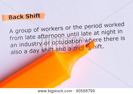 Back Shift Word Highlighted  On The White Paper