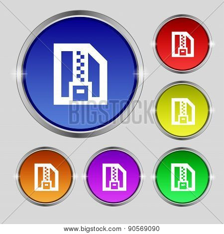 Archive File, Download Compressed, Zip Zipped Icon Sign. Round Symbol On Bright Colourful Buttons. V