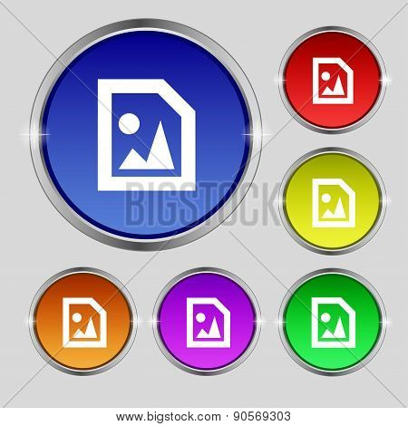 File Jpg Icon Sign. Round Symbol On Bright Colourful Buttons. Vector