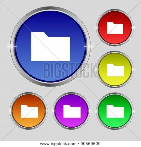 Document Folder Icon Sign. Round Symbol On Bright Colourful Buttons. Vector