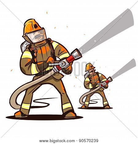 firefighter with the hose