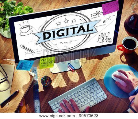 Digital Media Internet Global Communication Concept