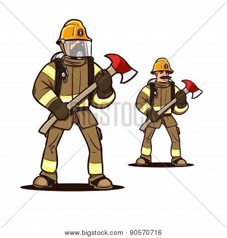 firefighter with the fire axe