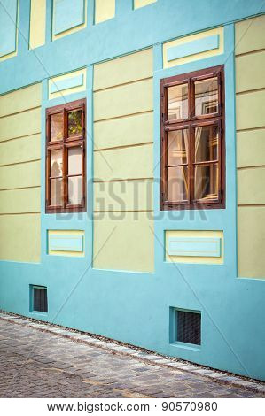 Blue House Facade With Wooden Windows From Sighisoara City Old Center