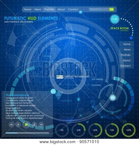 web ui infographic elements. futuristic user interface HUD blue neon. Web site design navigation elements