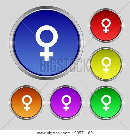 Symbols Gender, Female, Woman Sex Icon Sign. Round Symbol On Bright Colourful Buttons. Vector