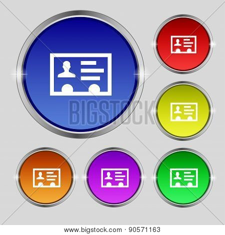 Id Card, Identity Card Badge, Cutaway, Business Card Icon Sign. Round Symbol On Bright Colourful But