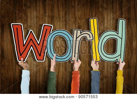 Group of Hands Holding Word World