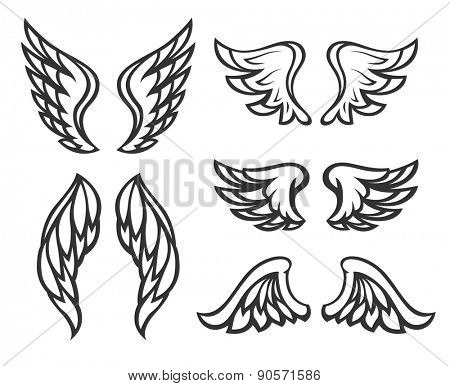 Set of wings tattoo. Eps8 vector illustration. Isolated on white background