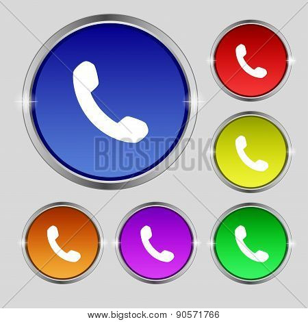 Phone, Support, Call Center Icon Sign. Round Symbol On Bright Colourful Buttons. Vector