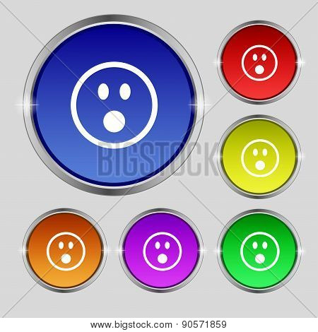 Shocked Face Smiley Icon Sign. Round Symbol On Bright Colourful Buttons. Vector