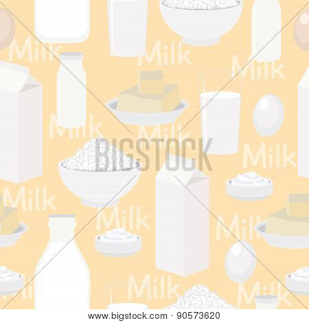 Dairy products, seamless vector background