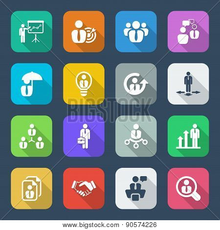 Flat Business Iconset Colorful