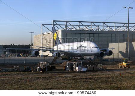 Lufthansa A380 At Lufthansa Technik Wharft At Rhein Main Airport